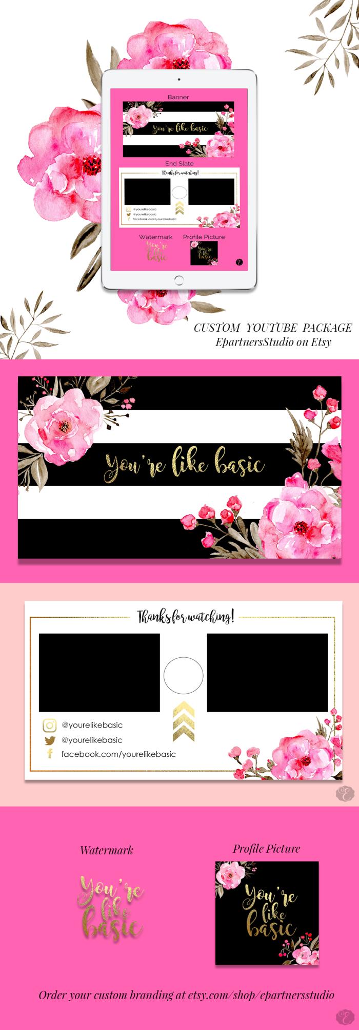 Custom YouTube Art - Blog Branding - Etsy
