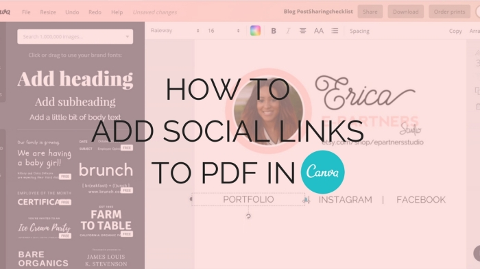 How to Add Social Media Links to PDF in Canva - Canva Tutorial- Branding Tutorial